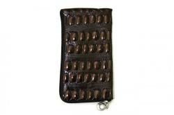 Сумочка-кошелек  Крокодил лаковая коричневый