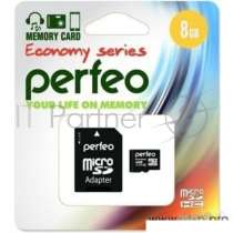 Флеш накопитель Micro SecureDigital 8Gb Perfeo PF8GMCSH10AES {MicroSDHC Class 10, SD adapter}