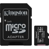 Карта памяти KINGSTON microSDXC 64Gb Canvas Select Plus (class 10/UHS-I/U1/100Mb/s/SD- адаптер)